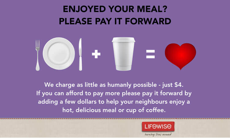 We charge as little as humanly possible, just $4. If you can afford to pay more, please pay it forward by adding a few dollars to help your neighbours enjoy a hot, delicious meal or cup of coffee.