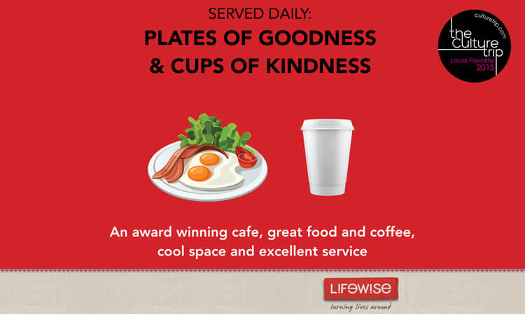 Plates of goodness, cups of kindness.