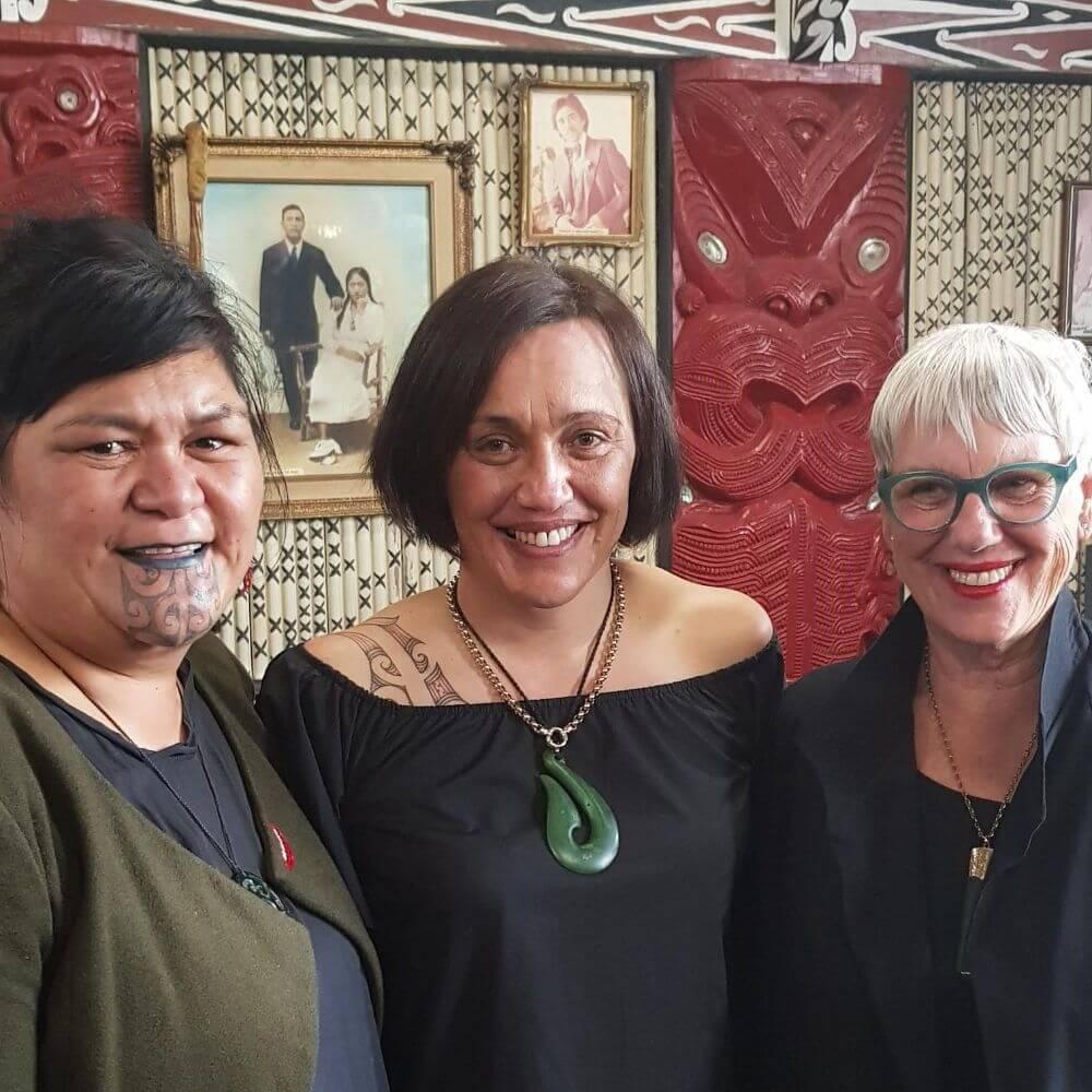 Hon Nanaia Mahuta, Minister for Māori Development seen here with Haehaetu Barrett, Lifewise Rotorua Service Manager, and Hon Steve Chadwick, Rotorua Mayor.