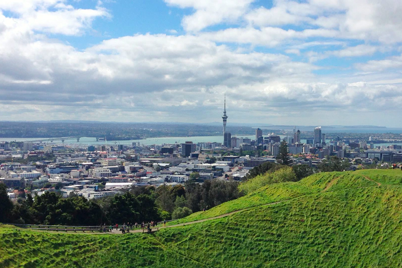 A view of Auckland Sky Tower from Mt Eden