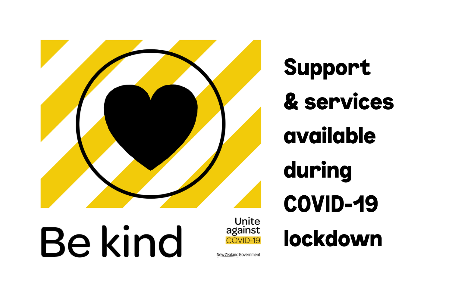 """Image with """"Be kind"""" logo and text, Support & services available during COVID-19 lockdown"""